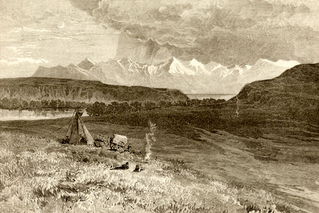 Kootenay, Rocky Mountains landscape in the 19th Century