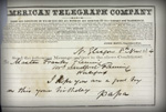 Sandford's telegram to his son Frank
