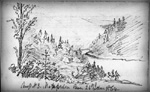 Drawing of Camp n˚ 3 along the shores of the Matapedia River