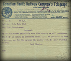 Telegram announcing the death of Sandford Fleming
